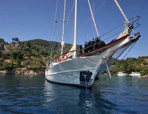 The 27 m luxury Turkish guket M/S Schatz on anchor