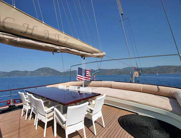 Aft deck dining and sofa seating