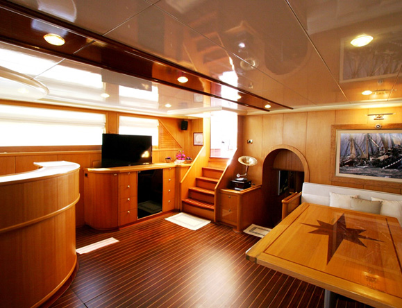 Interior saloon- Satellite TV,DVD/CD player, i-dock, board games & free WiFi in Turkish waters