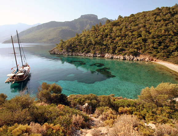 Anchor in unspoiled bays in the glittering Turkish Aegean