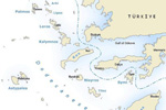 Map of yacht charter routes combining Greece & Turkey