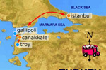 Map of Trojan Odyssey Gulet charter route in Turkey